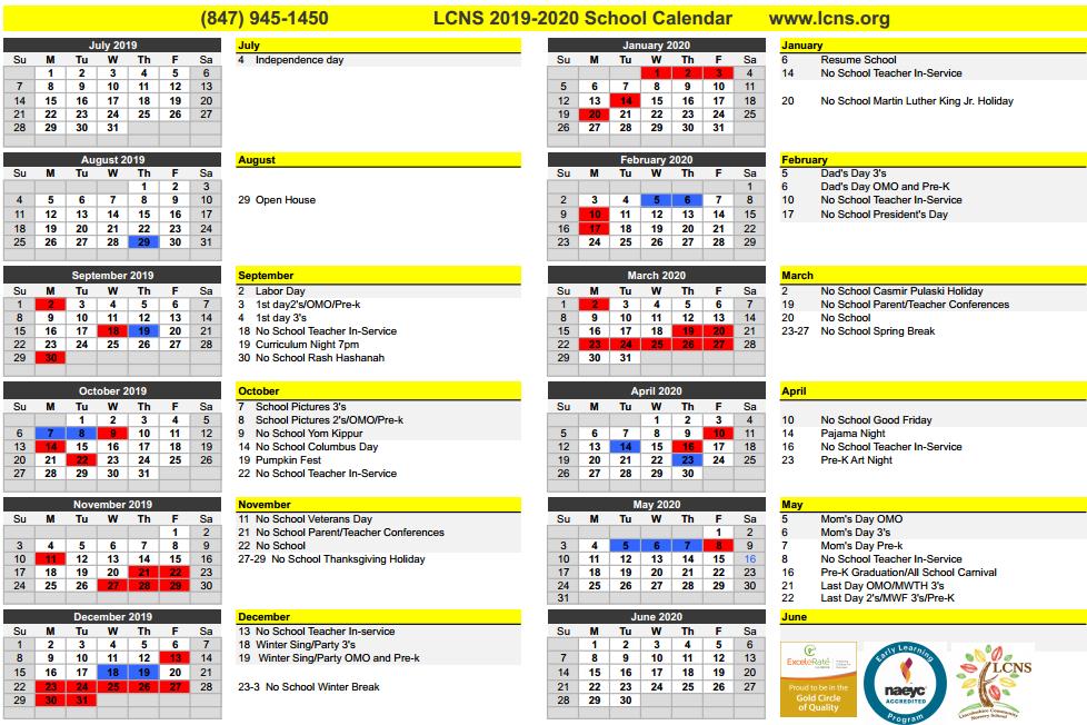 LCNS school calendar 2019-20