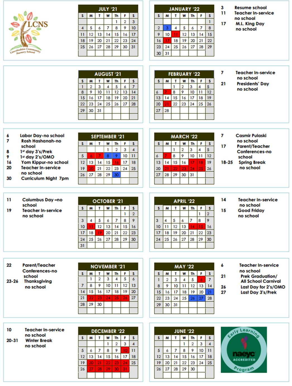 LCNS School Calendar 2021-2022